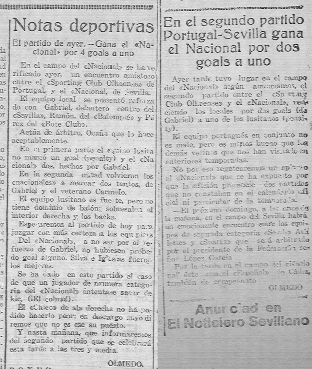 """""""El Noticiero Sevillano"""" de 7 e de 9 de Novembro de 1922"""