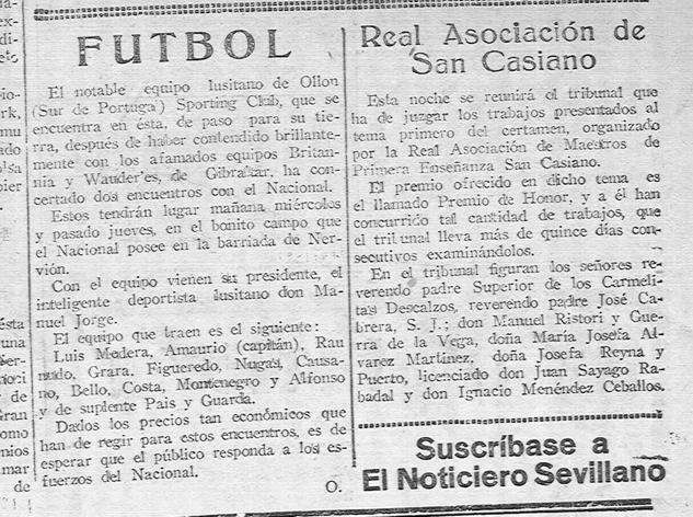 """""""El Noticiero Sevillano"""" de 7 de Novembro de 1922"""